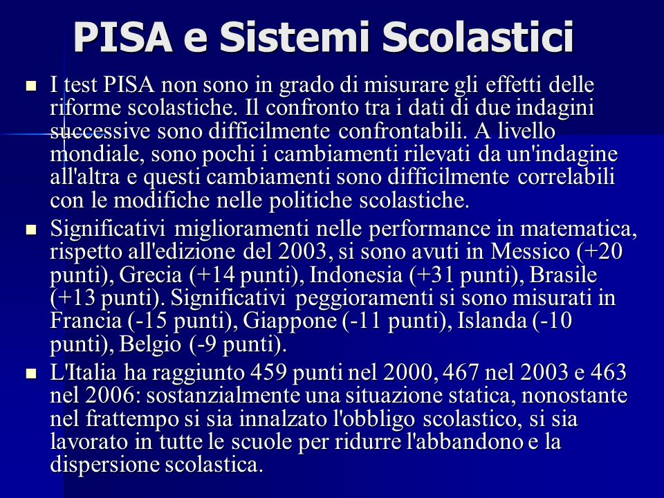 PISA e Sistemi Scolastici