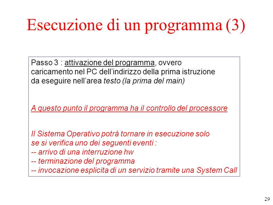 Esecuzione di un programma (3)
