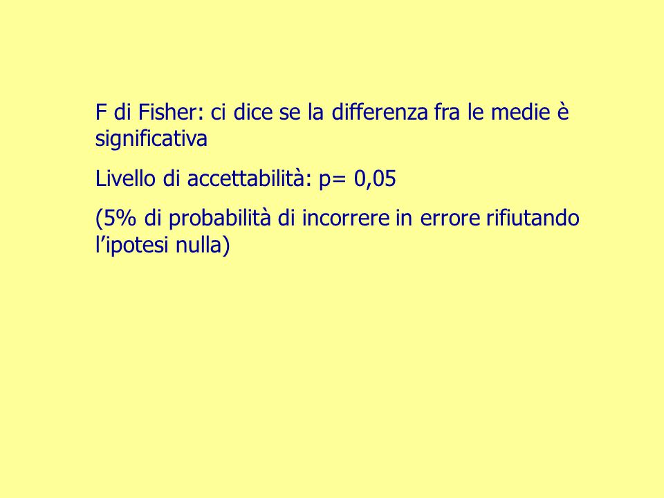 F di Fisher: ci dice se la differenza fra le medie è significativa