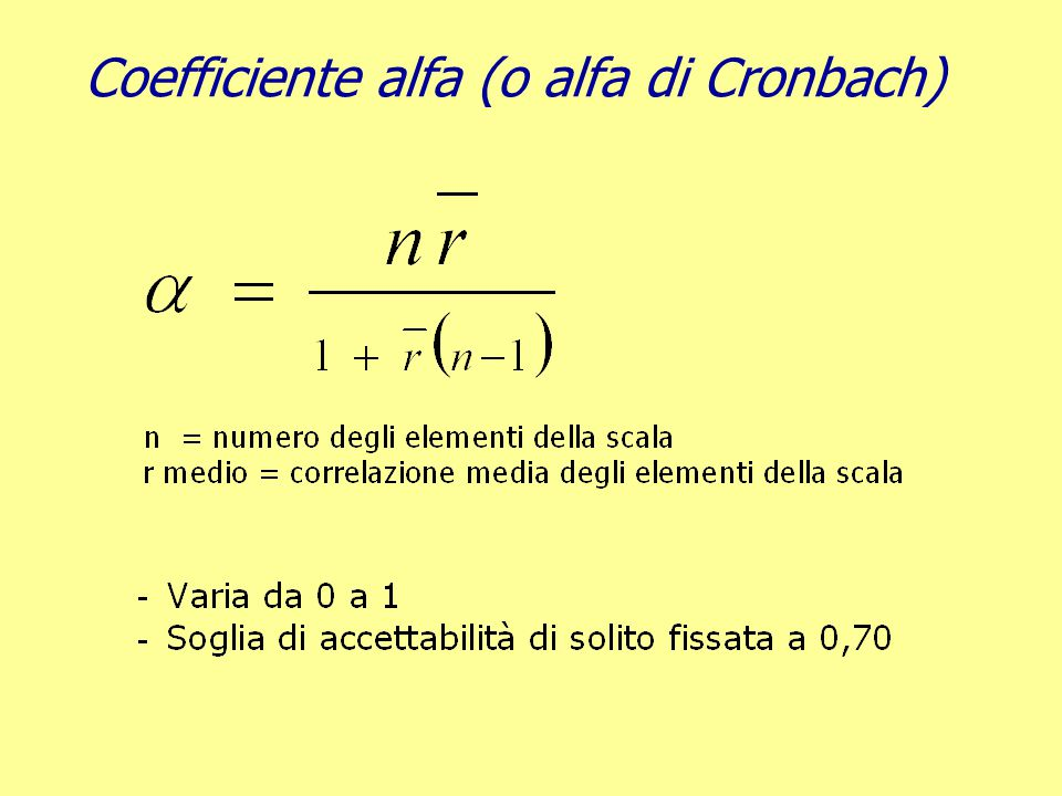 Coefficiente alfa (o alfa di Cronbach)