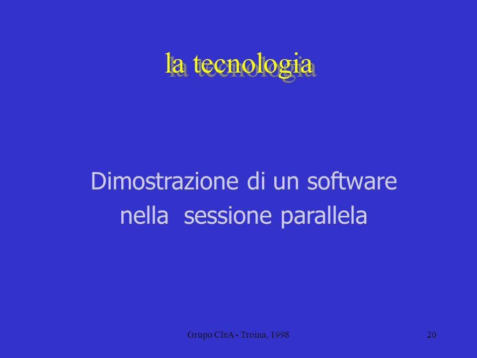 la tecnologia Dimostrazione di un software nella sessione parallela