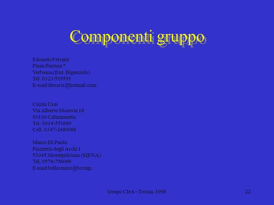 Componenti gruppo Edoardo Ferraris Piaza Pastura 7