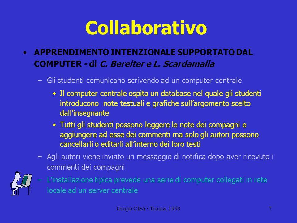 Collaborativo APPRENDIMENTO INTENZIONALE SUPPORTATO DAL COMPUTER - di C. Bereiter e L. Scardamalia.