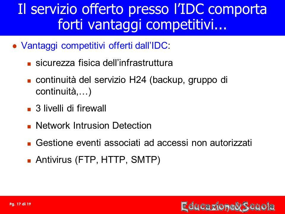 Il servizio offerto presso l'IDC comporta forti vantaggi competitivi...