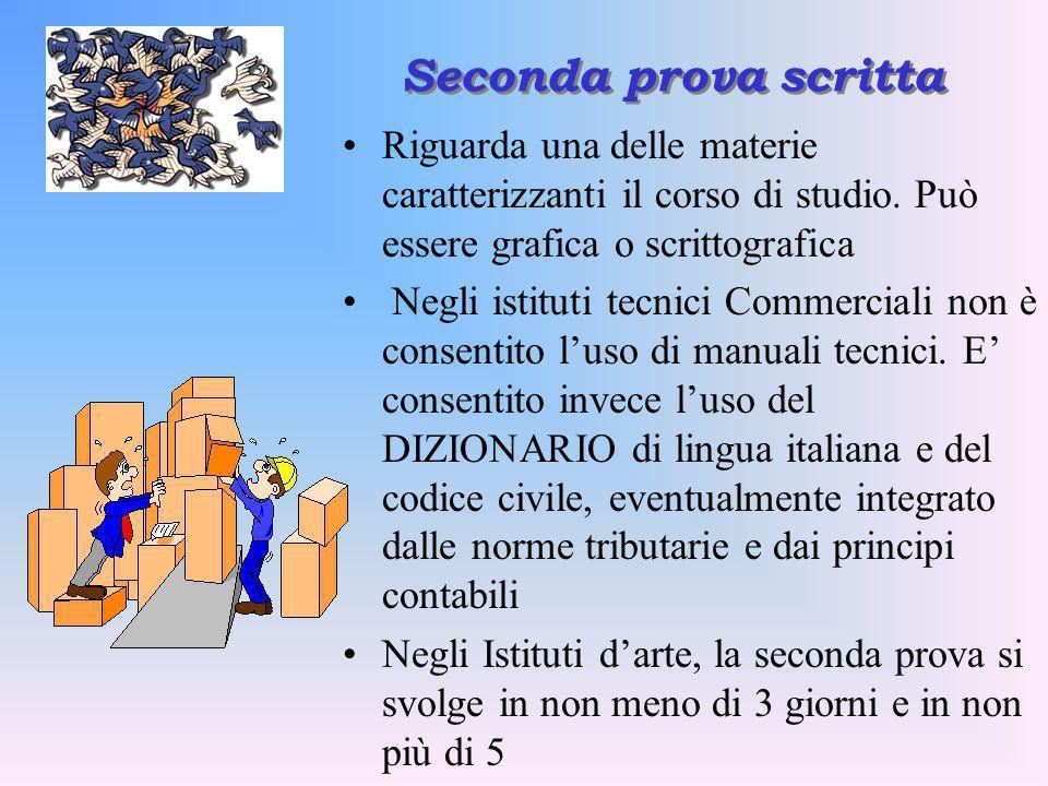 Seconda prova scrittaRiguarda una delle materie caratterizzanti il corso di studio. Può essere grafica o scrittografica.