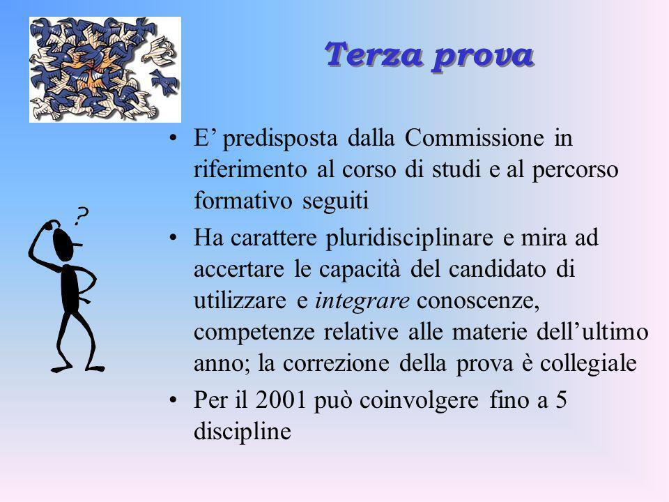 Terza prova E' predisposta dalla Commissione in riferimento al corso di studi e al percorso formativo seguiti.