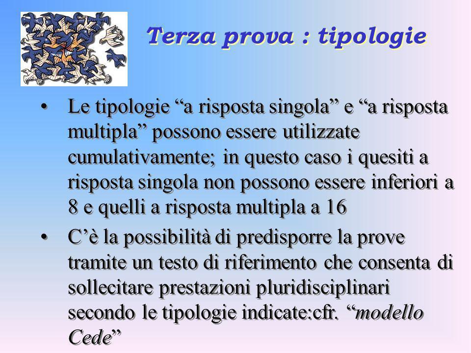 Terza prova : tipologie