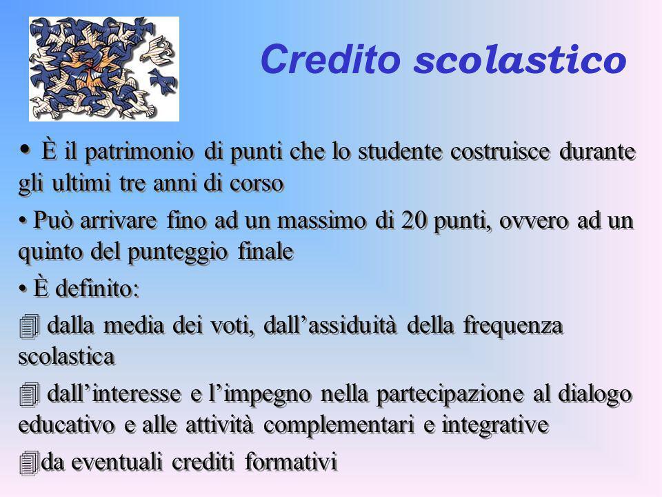 Credito scolastico È il patrimonio di punti che lo studente costruisce durante gli ultimi tre anni di corso.