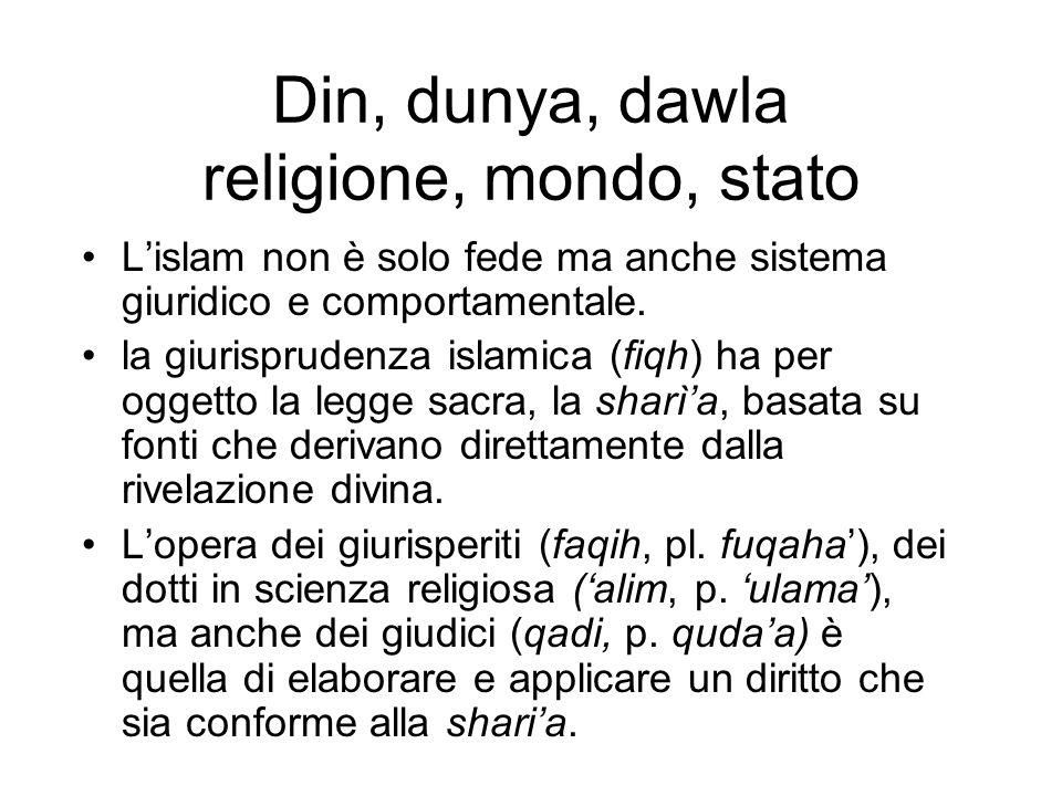 Din, dunya, dawla religione, mondo, stato