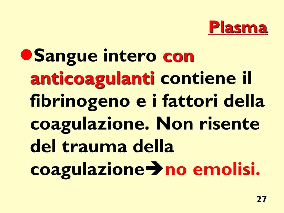 Plasma Sangue intero con anticoagulanti contiene il fibrinogeno e i fattori della coagulazione.