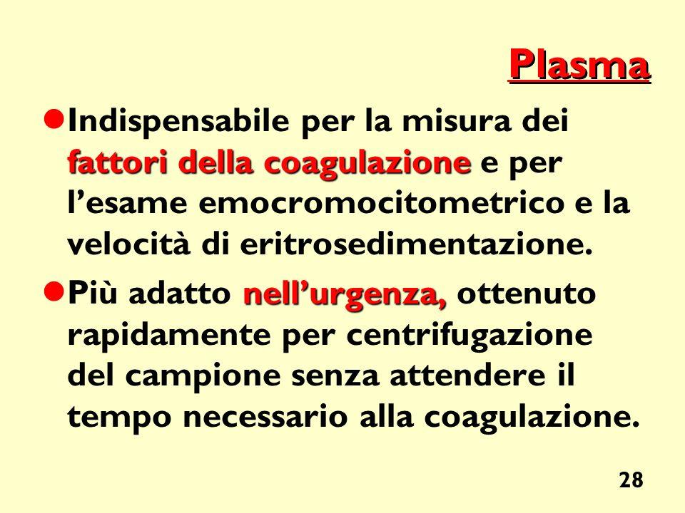 Plasma Indispensabile per la misura dei fattori della coagulazione e per l'esame emocromocitometrico e la velocità di eritrosedimentazione.
