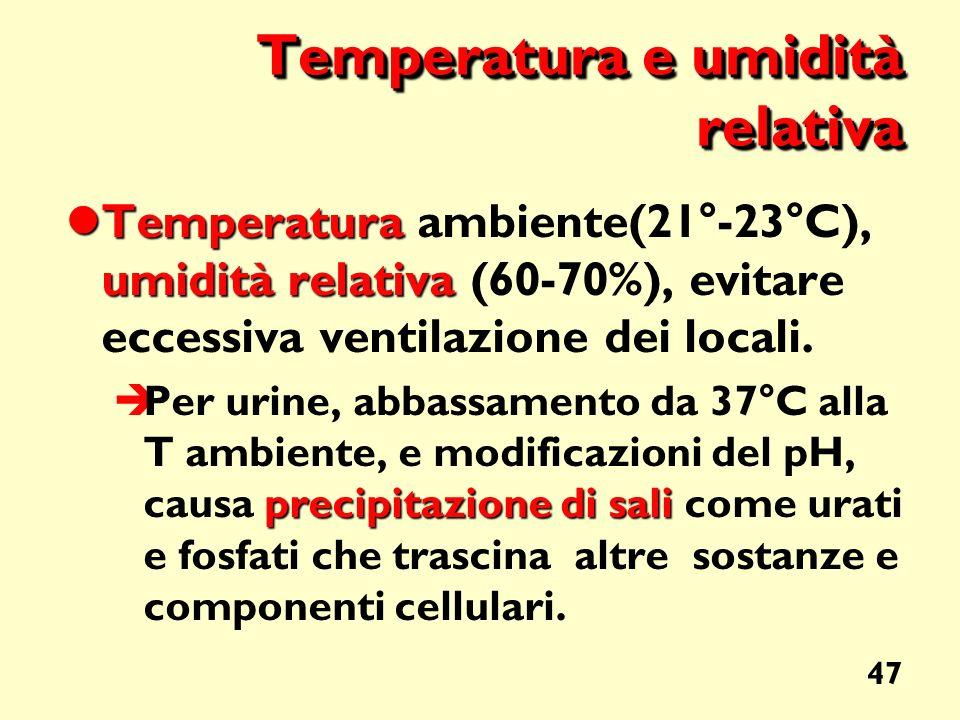 Temperatura e umidità relativa