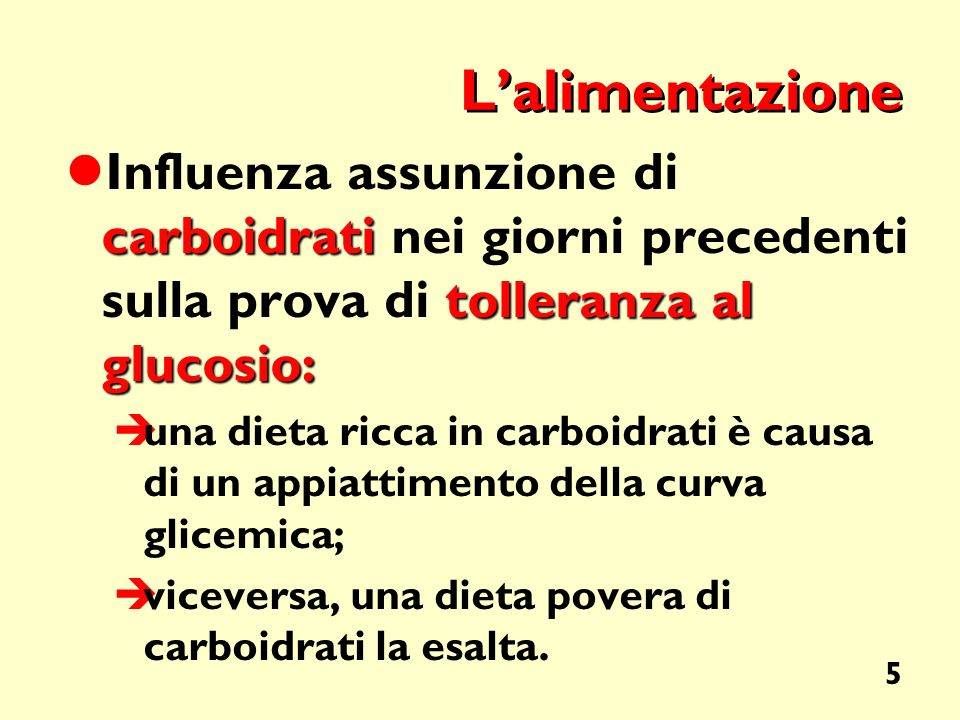 L'alimentazione Influenza assunzione di carboidrati nei giorni precedenti sulla prova di tolleranza al glucosio: