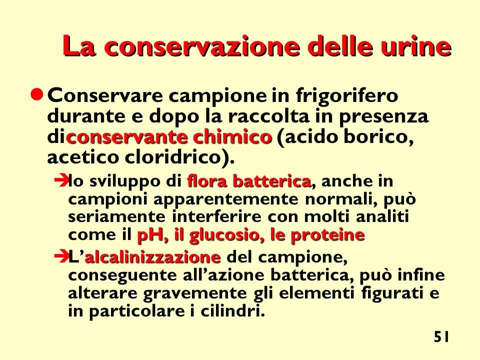 La conservazione delle urine