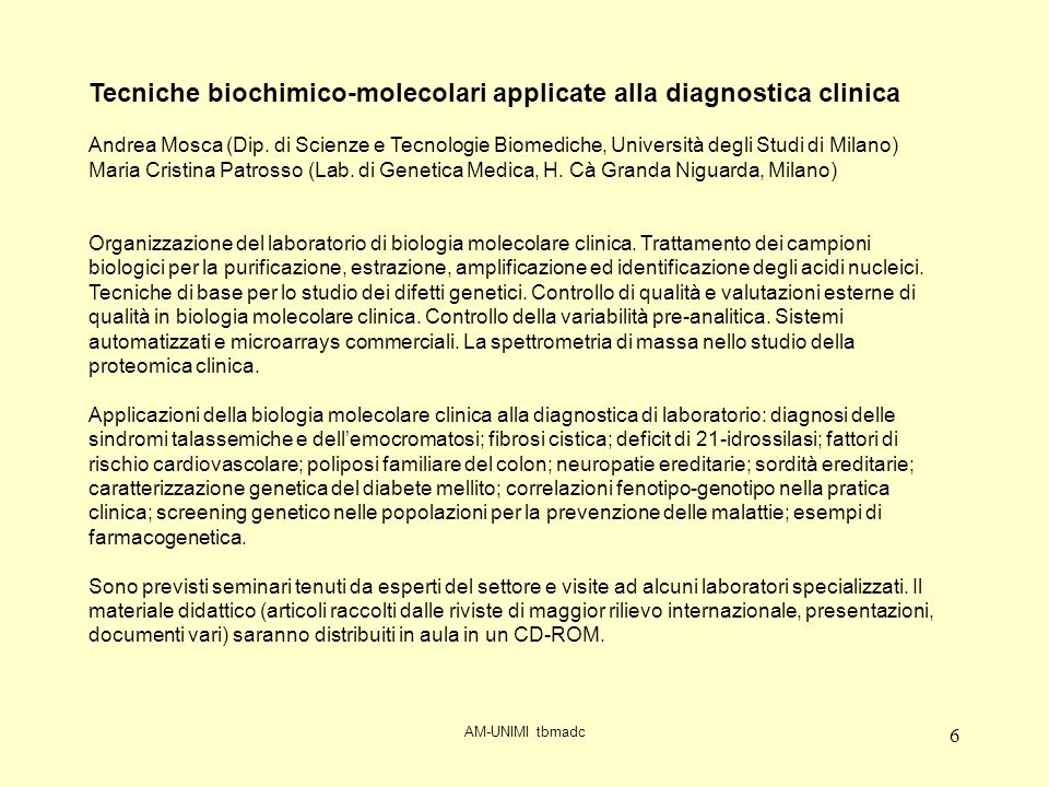 Tecniche biochimico-molecolari applicate alla diagnostica clinica