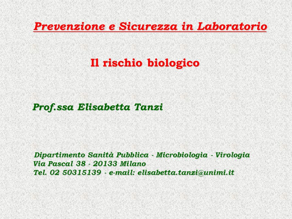 Prevenzione e Sicurezza in Laboratorio