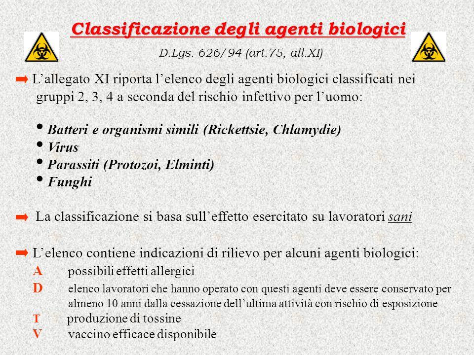 Classificazione degli agenti biologici D.Lgs. 626/94 (art.75, all.XI)