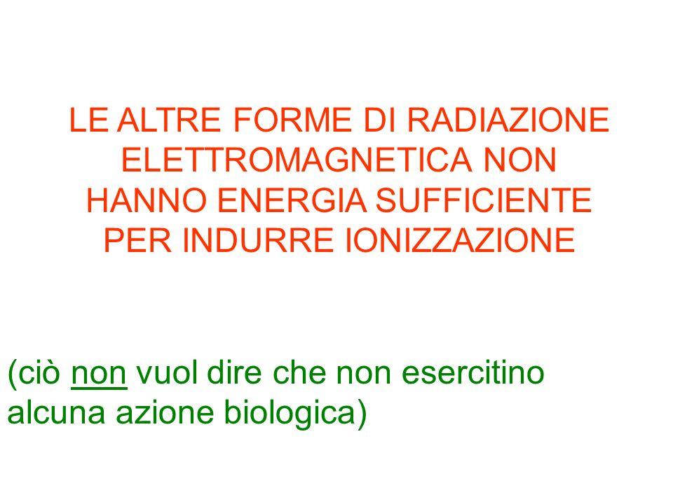 LE ALTRE FORME DI RADIAZIONE ELETTROMAGNETICA NON HANNO ENERGIA SUFFICIENTE PER INDURRE IONIZZAZIONE