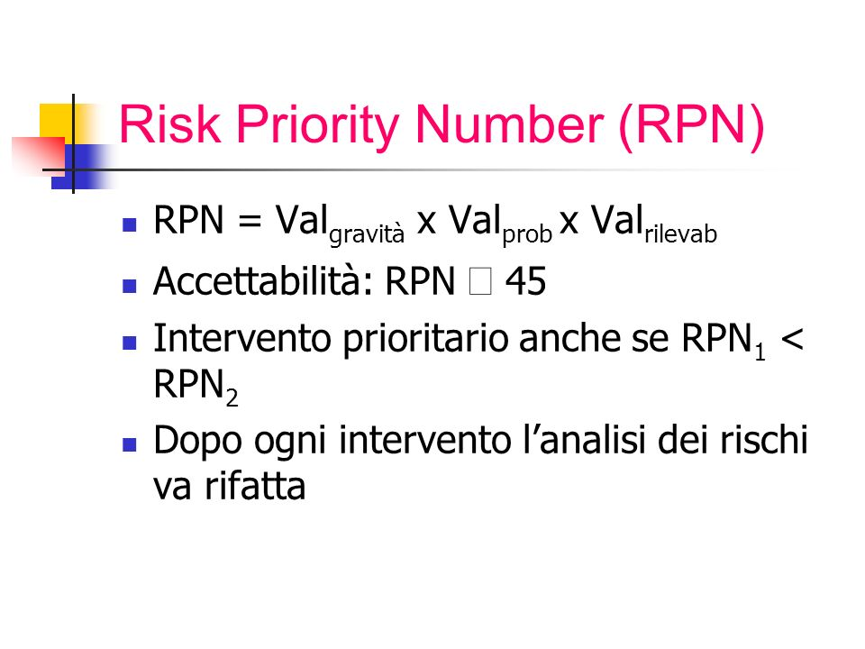 Risk Priority Number (RPN)