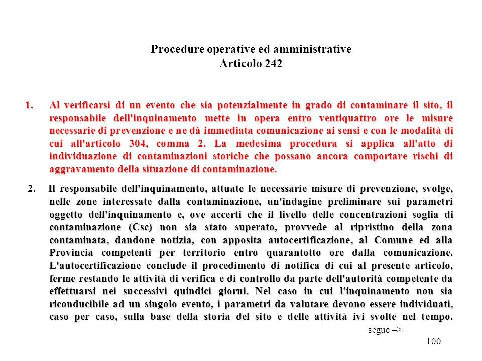 Procedure operative ed amministrative Articolo 242