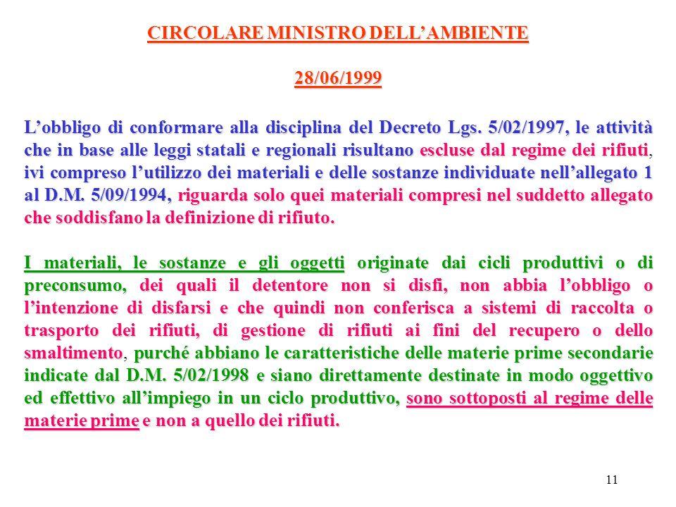 CIRCOLARE MINISTRO DELL'AMBIENTE