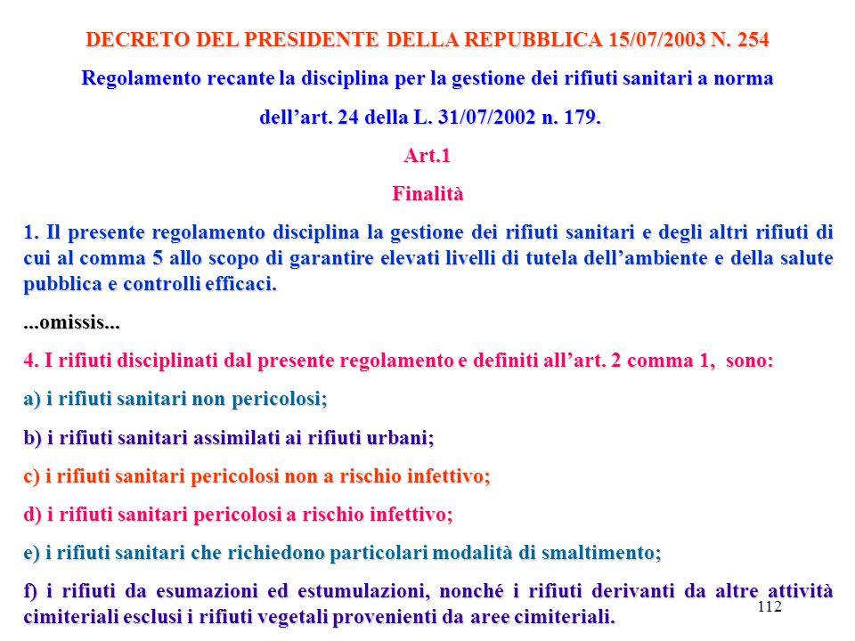 DECRETO DEL PRESIDENTE DELLA REPUBBLICA 15/07/2003 N. 254