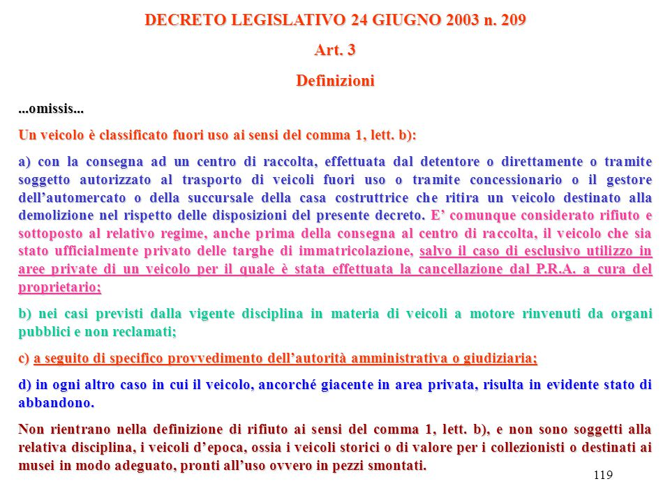 DECRETO LEGISLATIVO 24 GIUGNO 2003 n. 209