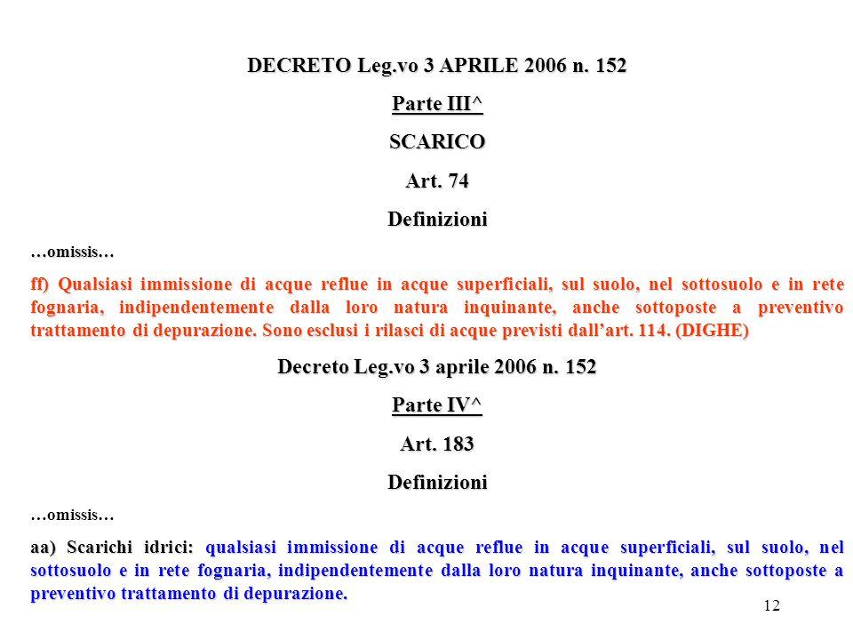 DECRETO Leg.vo 3 APRILE 2006 n. 152 Parte III^ SCARICO Art. 74