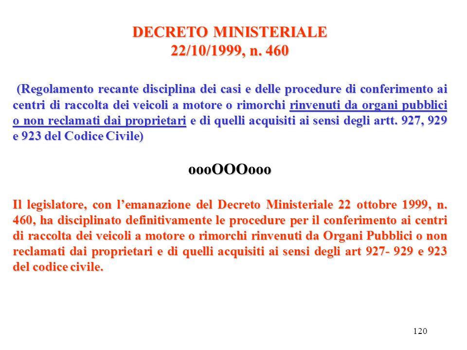 DECRETO MINISTERIALE 22/10/1999, n. 460 oooOOOooo
