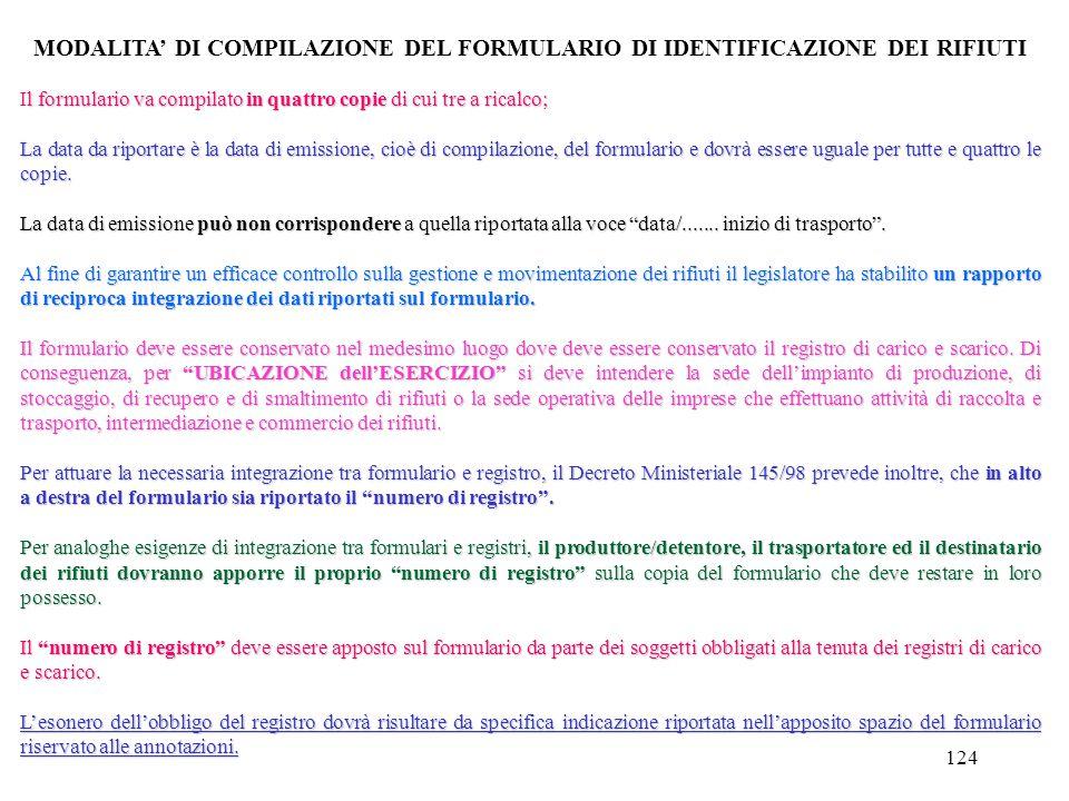 MODALITA' DI COMPILAZIONE DEL FORMULARIO DI IDENTIFICAZIONE DEI RIFIUTI