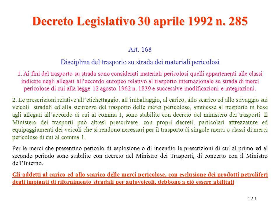 Decreto Legislativo 30 aprile 1992 n. 285