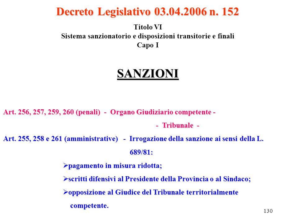 SANZIONI Decreto Legislativo 03.04.2006 n. 152