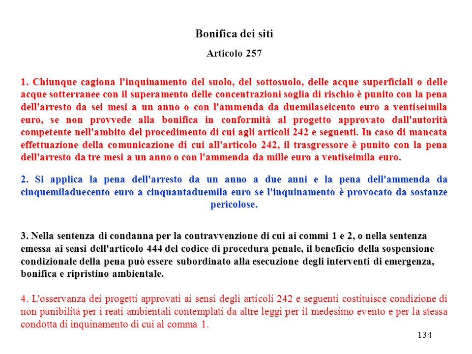 Bonifica dei siti Articolo 257