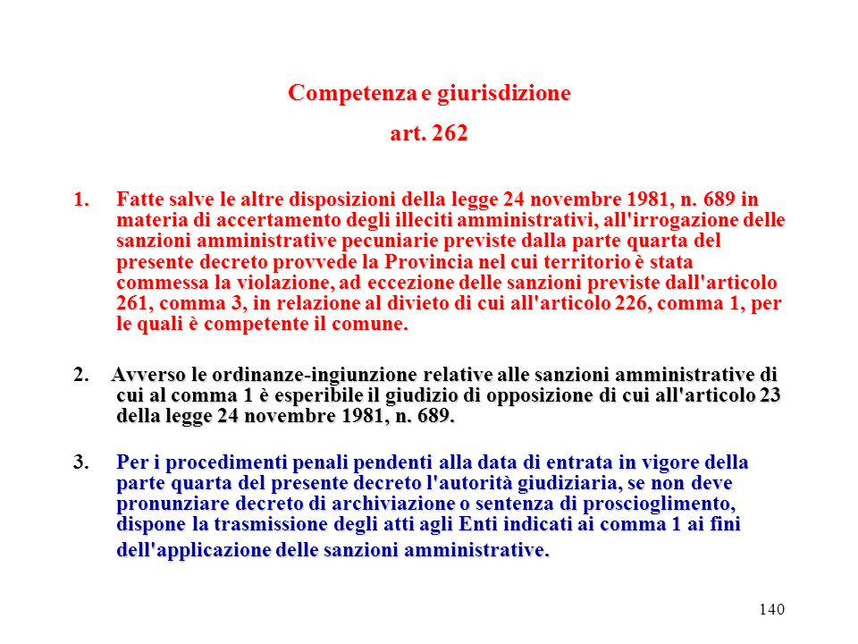 Competenza e giurisdizione art. 262