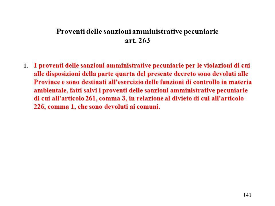 Proventi delle sanzioni amministrative pecuniarie art. 263