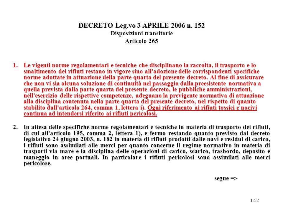 DECRETO Leg.vo 3 APRILE 2006 n. 152 Disposizioni transitorie Articolo 265