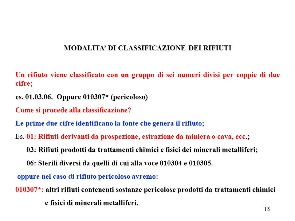 MODALITA' DI CLASSIFICAZIONE DEI RIFIUTI