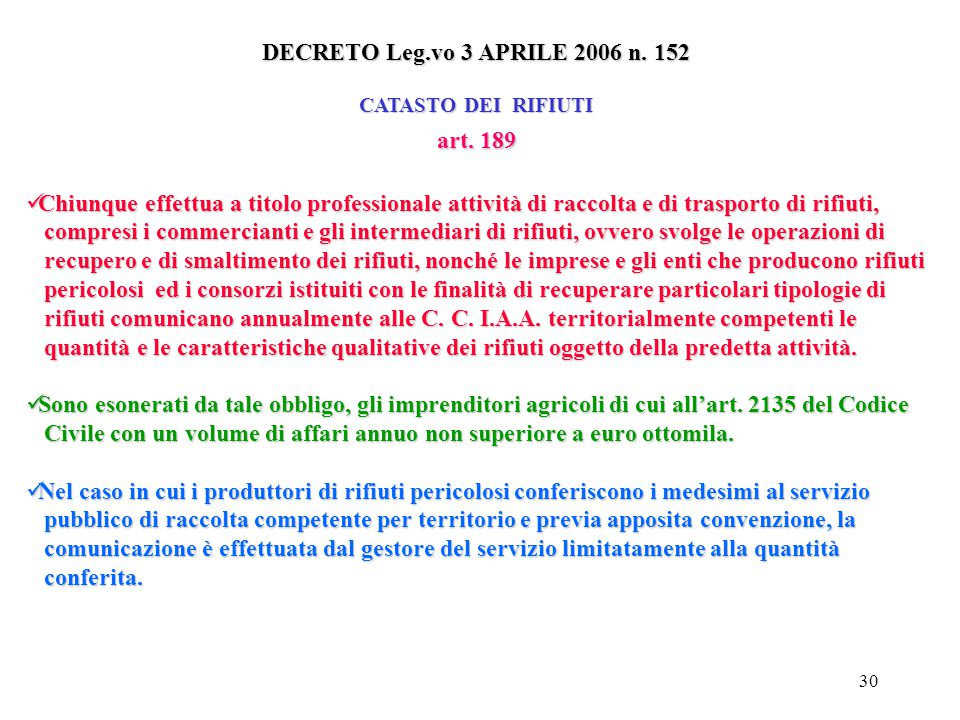 DECRETO Leg.vo 3 APRILE 2006 n. 152 art. 189