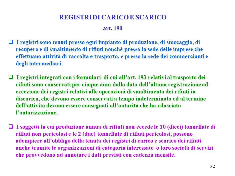 REGISTRI DI CARICO E SCARICO