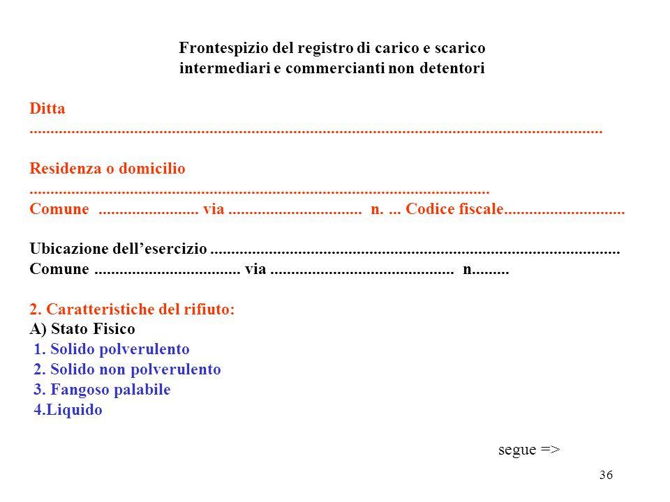Frontespizio del registro di carico e scarico