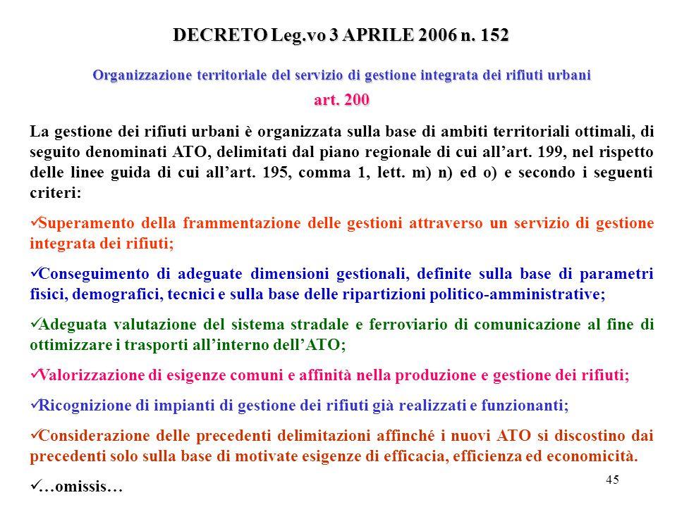 DECRETO Leg.vo 3 APRILE 2006 n. 152 art. 200