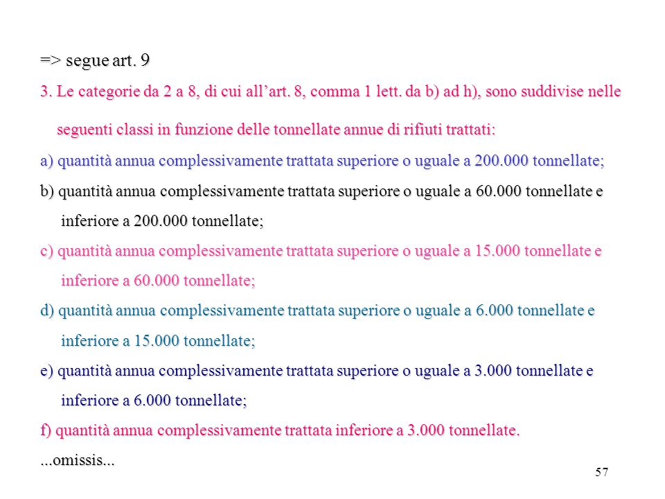 => segue art. 9 3. Le categorie da 2 a 8, di cui all'art. 8, comma 1 lett. da b) ad h), sono suddivise nelle.