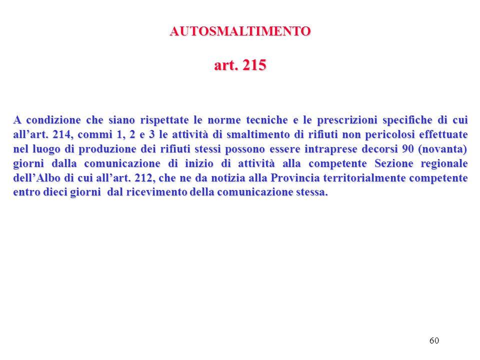 AUTOSMALTIMENTO art. 215.