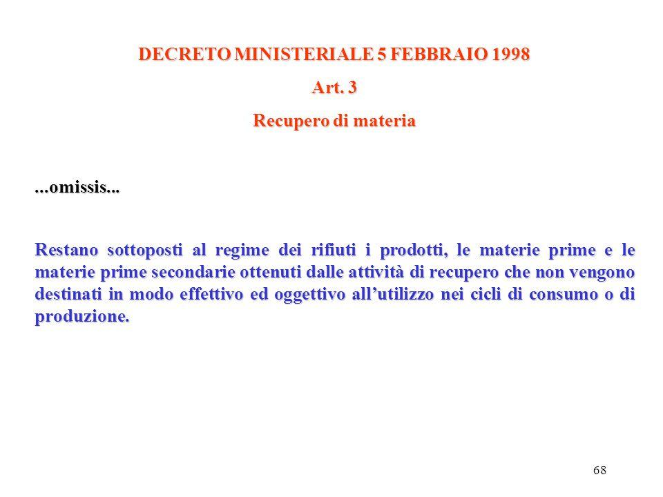 DECRETO MINISTERIALE 5 FEBBRAIO 1998