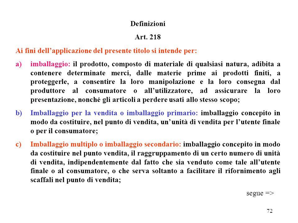 Definizioni Art. 218. Ai fini dell'applicazione del presente titolo si intende per: