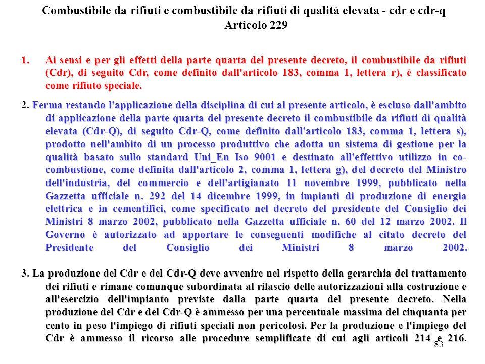 Combustibile da rifiuti e combustibile da rifiuti di qualità elevata - cdr e cdr-q Articolo 229