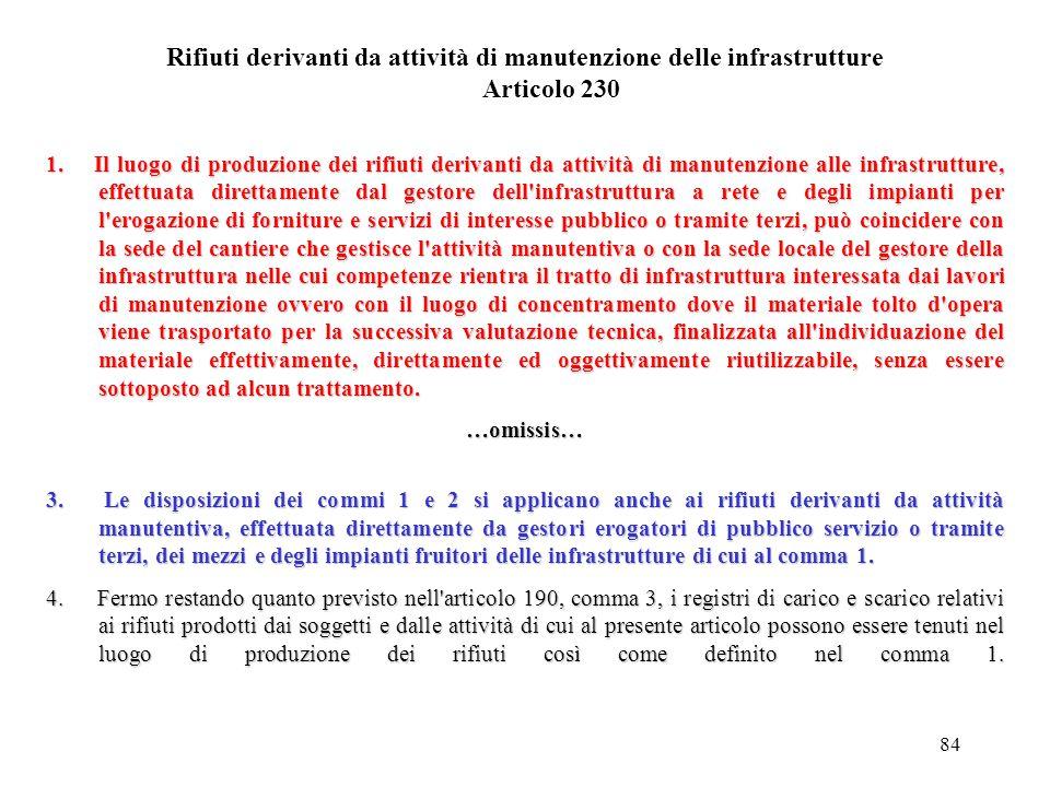 Rifiuti derivanti da attività di manutenzione delle infrastrutture Articolo 230