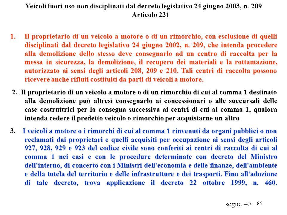 Veicoli fuori uso non disciplinati dal decreto legislativo 24 giugno 2003, n. 209 Articolo 231