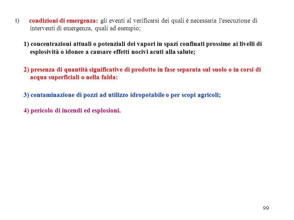 t) condizioni di emergenza: gli eventi al verificarsi dei quali è necessaria l esecuzione di interventi di emergenza, quali ad esempio;