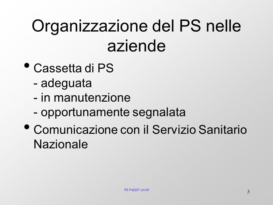 Organizzazione del PS nelle aziende